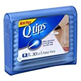 Q-Tips Cotton Swabs Purse Travel Size Pack, 30 Count (Pack of 6)