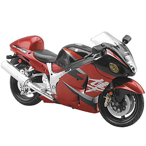New Ray 2005 Suzuki Hayabusa 1300 Replica Dirt Bike Motorcycle Toy - Burgundy / 1:12 Scale