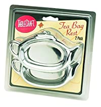 Tablecraft H1243 Tea Bag Rest (2 Pack), Small, Silver