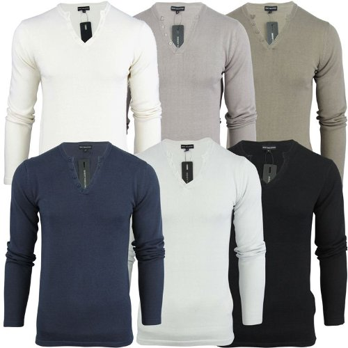 Mens Best Mountain Cotton Key Hole Neck Knit Jumper - Ecru [Medium]