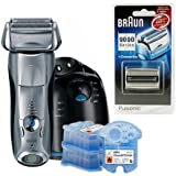 Braun Series 7 790cc Pulsonic Shaver System Silver with CCR3 Clean and Renew Refills and 9000CP/70s Replacement Foils Bundle