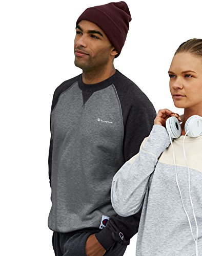 Champion Men`s Retro Crew Sweatshirt, S7954, S, Granite Heather/Black