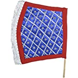 URBAN HAAT Cotton And Wood Embroidered Hand Fan (28 Cm X 1 Cm X 36 Cm, Blue)