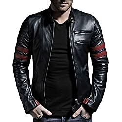 V4M Mens X Stripe Rider Genuine Real Leather Jacket (M)
