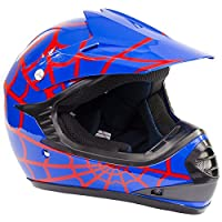 Youth Offroad Gear Combo Helmet Gloves Goggles DOT Motocross ATV Dirt Bike Motorcycle Blue Spiderman - Small by Typhoon Helmets