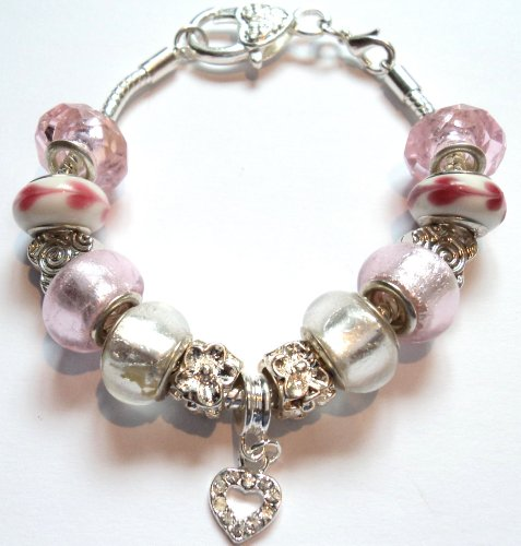 Sparkly Heart Pink 20cm Pandora/Troll Style Charm Bracelet - Ideal Birthday/Christmas Present