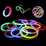 "100 8"" Premium Glow Stick Bracelets (Bi-Colored, Mixed Colors)"