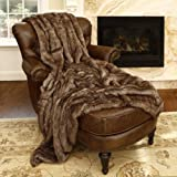 "Best Home Fashion Faux Fur Throw Blanket 58"" x 60"" - Coyote - TR"