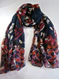 Beautiful Floral Diamond Print Pashmina Scarf Wrap Navy CerisWhite Oversize New
