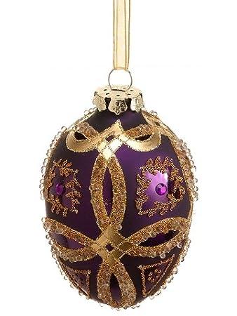 Silk Plants Direct Beaded Glass Egg Shape Ornament