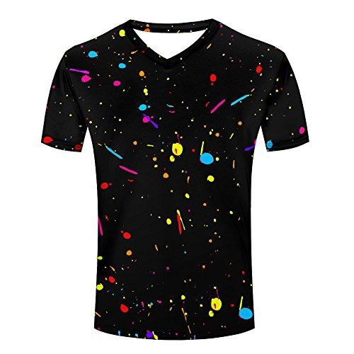 Colourful Inkblot Dots Splatter Men's V-neck T shirt L