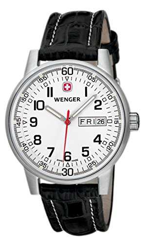 Wenger Herren-Armbanduhr XL Commando Day Date  Analog Quarz Leder 70160.XL