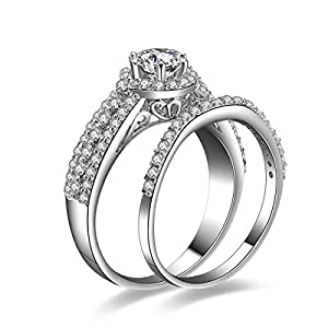 Jewelrypalace Women's 1.5ct Cubic Zirconia CZ Solid 925 Sterling Silver Wedding Band Anniversary Engagement Ring Set Size 9