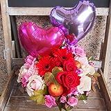 高岡大仏前花金 (赤ピンクB5*)  バラ・ガーベラ☆バルーンラウンドアレンジメント(サイズ 幅 28cm 高さ45cm) 母の日 父の日 敬老の日 誕生日 発表会 お祝い  結婚記念日 結婚祝い 還暦  ギフト 内祝い 出産祝い お見舞い