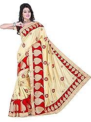 Fabviva Women's Beige Art Silk Designer Saree