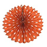 PrettyurParty Orange Polka Dots Paper Fans