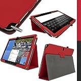 igadgitz Rot PU Ledertasche Hülle Folie Cover für Samsung Galaxy NotePRO 12.2