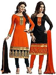 RR Fashion Women's Chanderi Unstitched Dress Material (COMBO-F_BLACKORANGE)