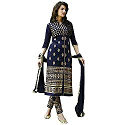 Om Fashion Women's Cotton Unstiched Salwar Suit with Dupatta ( om0006blue_Blue)