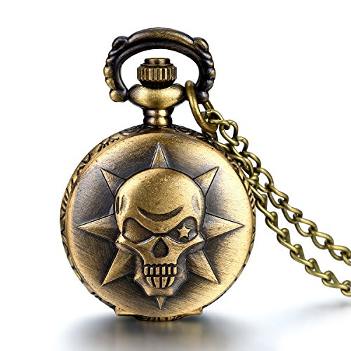 JewelryWe Vintage Style Covered Pocket Watch Pendant with Anime Cross Fire Kito Design Clock Necklace
