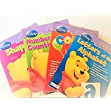 Pack Of Four (4) Workbooks - Disney Early Skills - Learn With Pooh - Numbers Counting Letters Alphab