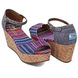 (トムス) TOMS Women's Platform Wedges ウーマン プラットフォーム ウェッジ サンダル レディース 靴 ソルドス エスパドリーユ メンズ スリッポン フラットシューズ 24cm(US7) Multi Stripe [並行輸入品]