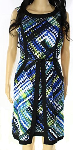 Ellen Tracy Printed Belted Womens Petite Sheath Dress