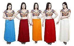 Pistaa combo of Women's Cotton Turquoise Blue, Deep Maroon, Orange, Maroon and Cream Color Best Indian Readymade Comfort Inskirt Saree petticoats