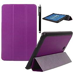 Dell Venue 8 Case, E LV Dell Venue 8 (ANDROID TABLET) Case Cover Full Body Protection TRIFOLD PU LEATHER Smart Case Cover for DELL VENUE 8 - PURPLE