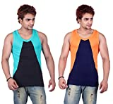 White Moon Gym Vests - Pack of 2 (Black_Blue_32)