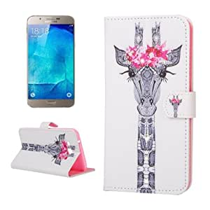 Crazy4Gadget Giraffe & Flower Pattern Horizontal Flip Diamond Encrusted Leather Case with Holder & Card Slots & Wallet for Samsung Galaxy A8 / A800