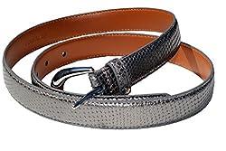 LAUREN by Ralph Lauren Women's; Snake Embossed Belt Mercury SM