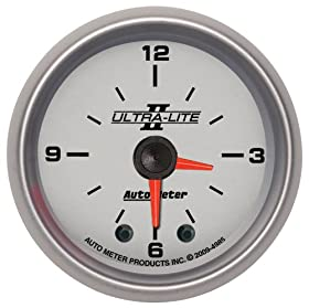 "Auto Meter 4985 Ultra-Lite II 2"" Analog Illuminated Clock Gauge"