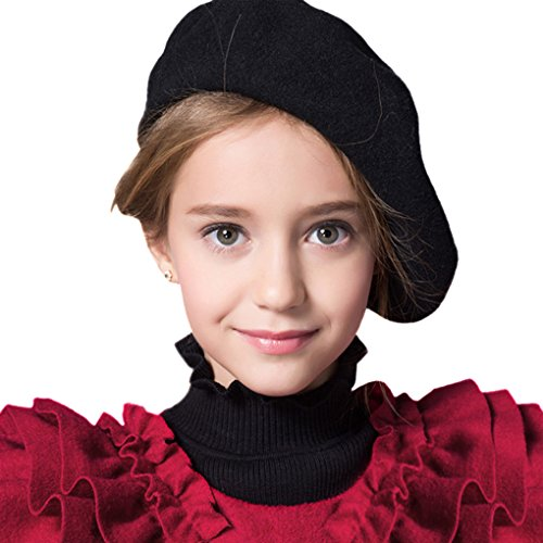 Kids Girls Boys 100% Wool French Dome Beret Hat Flat Cap Winter Autumn Fancy Dress Artist Painter Bailey Hat (French Cap compare prices)