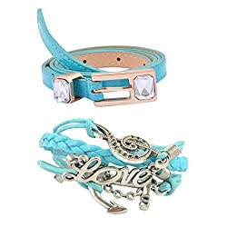 Diovanni Combo of Light Blue Color Bracelet and Belt For Womens