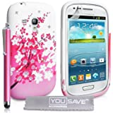 Yousave Accessories Etui en Silicone Gel + Stylet + Film de Protection Samsung Galaxy S3 Mini Floraux Abeille Rose/Blanc