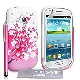 """Samsung Galaxy S3 Mini Zubeh�r Tasche Galaxy S3 Mini Rosa / Wei� Silikon Gel Blumen Biene H�lle Mit Griffel Stiftvon """"Yousave Accessories�"""""""