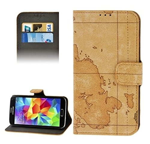 Mylife Bright Lion Brown World Map Series - Professional Design - Koskin Faux Leather (Card, Cash And Id Holder + Magnetic Detachable Closing) Slim Wallet For New Galaxy S5 (5G) Smartphone By Samsung (External Rugged Synthetic Leather With Magnetic Clip +