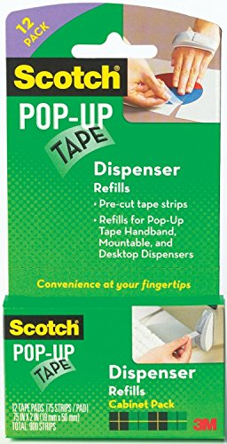 Scotch Pop-Up Tape Strips 19mm X 50mm, 12 Tape Pads, 4-PACK (Scotch Pop Up Tape Dispenser compare prices)