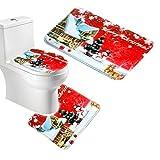 Moonlight クリスマス サンタ 温もりストライプ トイレ3点セット (バスマット&足元マット&洗浄フタカバー) (レッド雪だるま)