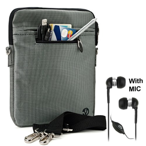 """Gray Mighty Nylon Jacket Slim Compact Protective Sleeve Shoulder Bag Case with accessories compartment for Pandigital SuperNova - 8"""" Media Tablet + Black Clear High Quality HD Noise Filter Ear buds Earphones Headphones with a MIC ( 3.5mm Jack ) from Elect"""