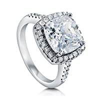 BERRICLE Sterling Silver Cushion Cut Cubic Zirconia CZ Halo Womens Engagement Wedding Bridal Ring from BERRICLE