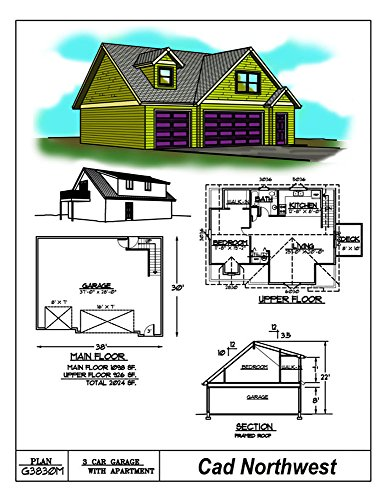 Three car garage plans 38 39 x 30 39 living space above for 2 car garage with living space above plans