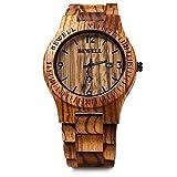 Bewell ZS – W086B Wood Men Watch Analog Quartz Movement Date Display(zera wood )