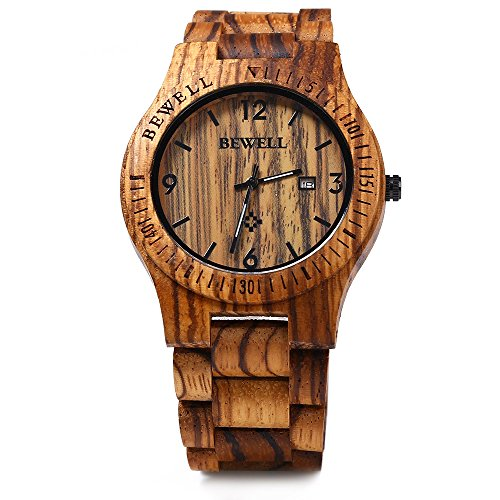 Bewell ZS - W086B Wood Men Watch Analog Quartz Movement Date Display(zera wood )