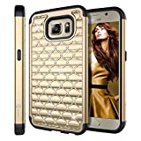 S6 Case, Galaxy S6 Case, Style4U Galaxy S6 Studded Rhinestone Crystal Bling Hybrid Armor Case Cover for Samsung Galaxy S6 with 1 Style4U Stylus [Gold / Black]