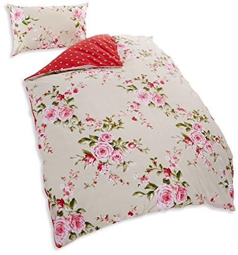 Catherine-Lansfield-Canterbury-Bettwsche-Garnitur-Blumenmotiv-Rot-Einzelbett