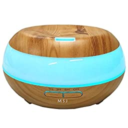 Maishengjie 300ml Wooden Grain Aromatherapy Essential Oil Diffuser with 7 Colored LED Lights & 4 Timer Settings, Waterless Auto Shut-Off