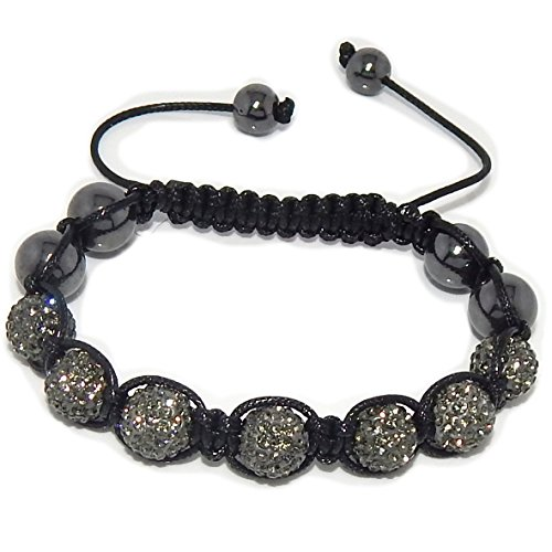 Gray Swarovski Crystal And Hematite Beads Adjustable Shamballa Style Bracelet