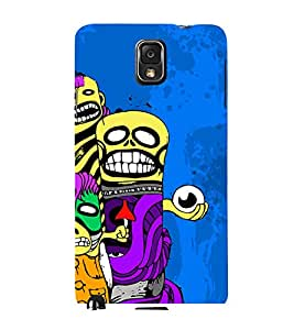 ANIMATED MONSTERS IN A blue BACKGROUND 3D Hard Polycarbonate Designer Back Case Cover for Samsung Galaxy Note 3 N9000 :: Samsung Galaxy Note 3 N9002 :: Samsung Galaxy Note 3 N9005 LTE